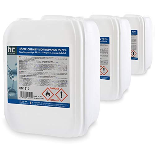 3 x 10 L Isopropanol 99,9% IPA von Höfer Chemie frisch abgefüllt im handlichen 10 L Kanister - perfekt als Lösungsmittel und Fettlöser geeignet