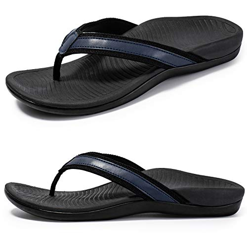 Nlissope Womens Sandals Flip Flop with Orthotic For Plantar Fasciitis Arch Support Athletic Slide Sandals Relieve Flat Feet, High Arch, Foot Pain, Navy, 10