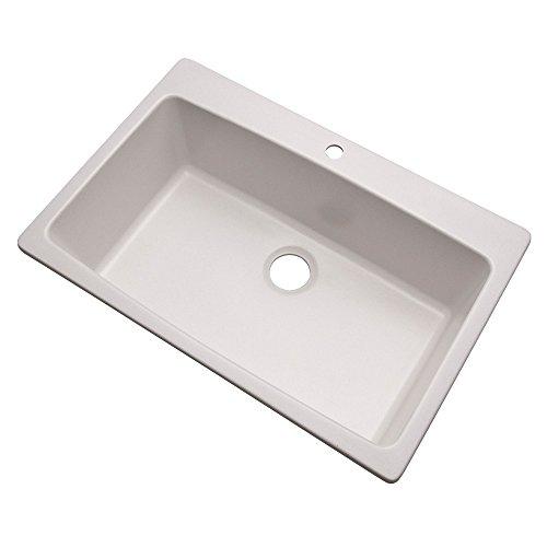 Dekor Sinks 70100Q Northampton Composite Granite Single Bowl Kitchen Sink with One Hole, 33', Soft White