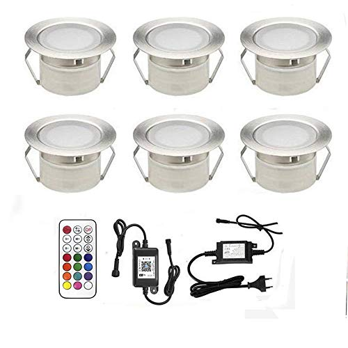 10 lámparas de foco LED para terraza enterrada, lámpara de techo CC 12 V, 1 W, IP67, diámetro 45 mm, lámpara exterior para camino, escalera, piscina, luz blanca cálida