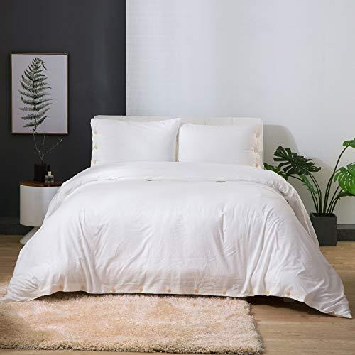 Bedsure 100% Washed Cotton Duvet Cover Sets Queen Full Size White Bedding Set 3 Pieces (1 Duvet Cover + 2 Pillow Shams) Cotton Comforter Duvet Set