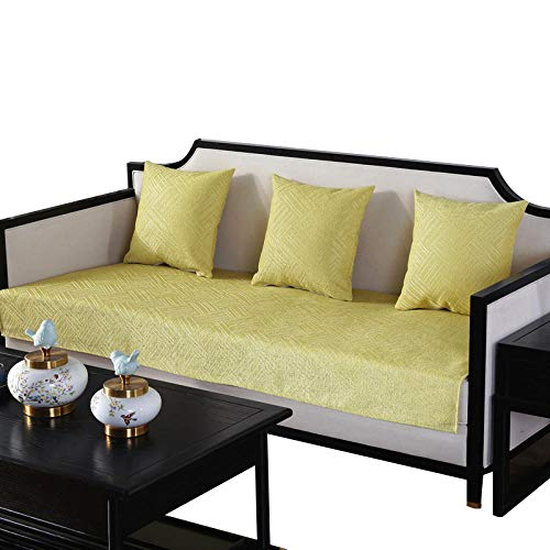 HXTSWGS Juego de Fundas de sofá Funda de sofá de Color sólido Funda de sofá elástica para Sala de Estar Esquina de Mascotas Chaise Longue en Forma de L Toalla de sofá-Yellow_70x210cm 27x82in