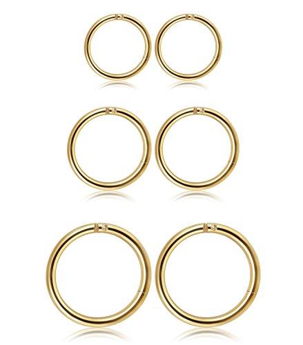 Thunaraz 3 Pair Stainless Steel 16G Sleeper Earrings Septum Clicker Nose Lip Ring Body Piercing Golden Tone