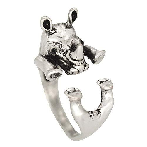 24 JOYAS Anillo Ajustable Abrazo Animal; Mascota Realista para Las Amantes de los Perros, Gatos, Caballos, Elefantes, Rinocerontes. (Rinoceronte)