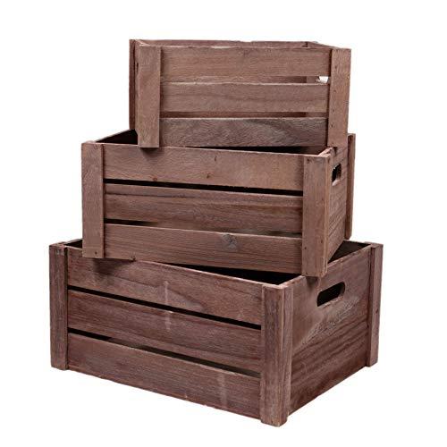 Juego de 3 cajas de madera, caja de obskistas, caja decorativa, aspecto shabby