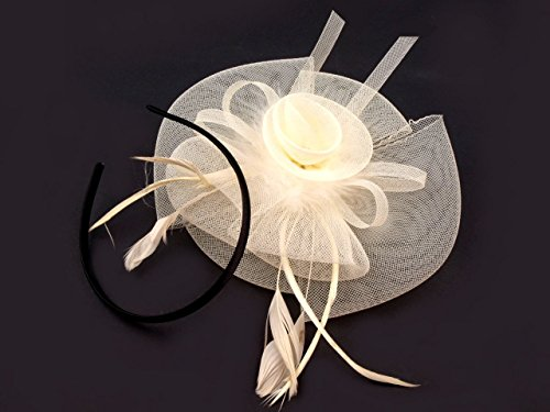 Fascinator Hütchen Haarreif Haarschmuck Federn Hut viele Farben (Creme)