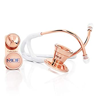 MDF® ProCardial Core™ Cardiology Stainless Steel Dual Head Adult-Pediatric Stethoscope with Adult Cardiology Bell Convertible Attachment - Free-Parts-for-Life  MDF797DD   Rose Gold/White