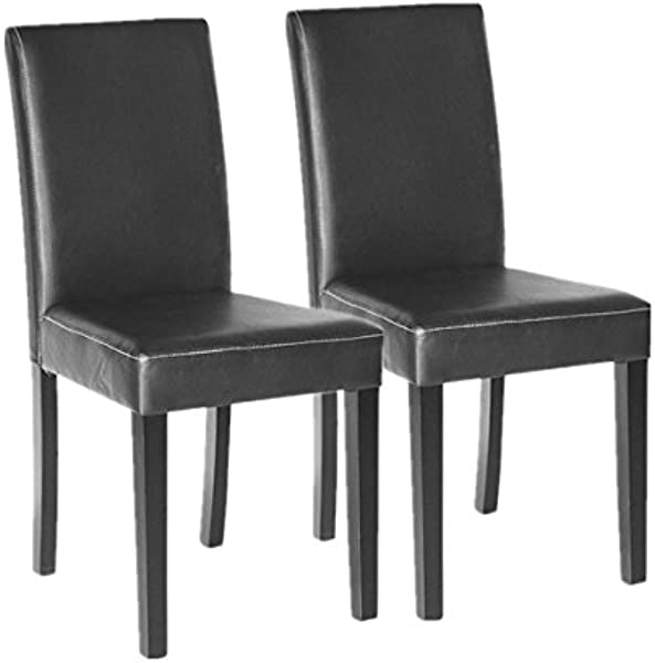Polar Aurora Set Of 2 Elegant Design Leather Modern Dining Chairs Room Urban Style Solid Wood Leatherette Padded Parson Chair Kitchen Seats Black Brown Black