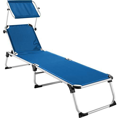 TecTake 800812 Alu Sonnenliege mit Dach, klappbar, Gartenliege mit 6-Fach Verstellbarer Rückenlehne und 2 Tragegriffen, 205 cm Liegefläche, blau