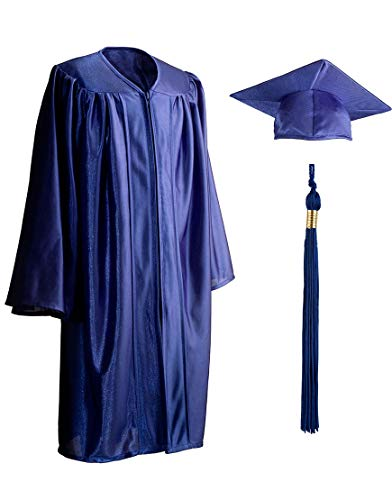 Child, Shiny, Graduation Gown, Cap and Tassel Set, Polyester, Multiple Sizes and Colors