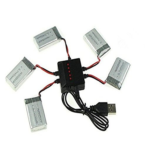 Syma YUNIQUE Italia® 5 Pezzi Batterie Lipo Ricaricabili (3.7v, 720 mAh Lipo) + Caricatore 5-1 per Rc Droni Quadricotteri X5 X5C X5SC X5SW, Cheerson CX-30W, Skytech M68; Wltoys F949