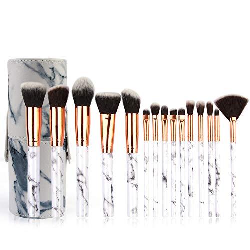 LEXUPE 15 pinceaux de Maquillage Set Professionnel Visage Ombre à paupières Eye-Liner Foundation Blush(Blanc,Soies de Fibres Fines sélectionnées) (Blanc-B, Taille Unique)