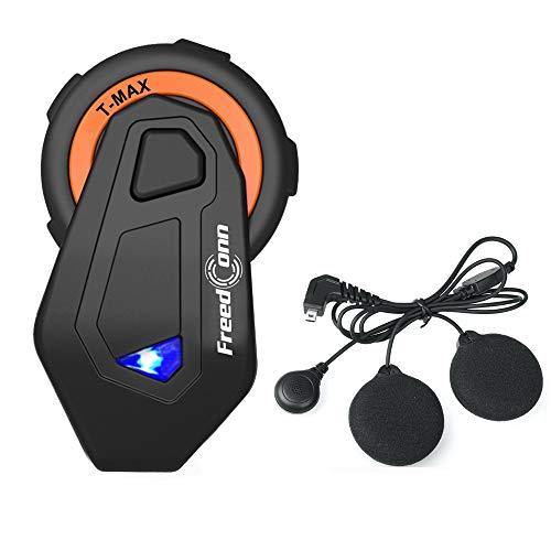 FreedConn Motobike Intercom Bluetooth 4.1 Headsets Full Duplex Interphone Walkie Talkie 6 Riders Group Helmet Motorcycle Intercom 1500M/FM Radio/Hand Free (1 Pack of Soft Microphone Cable)