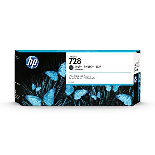 HP 728 Mattschwarz 300 ml Original Druckerpatrone (F9J68A) mit hoher Kapazität, HP Tinte für DesignJet T730 und T830 Großformatdrucker sowie den HP 729 DesignJet Druckkopf