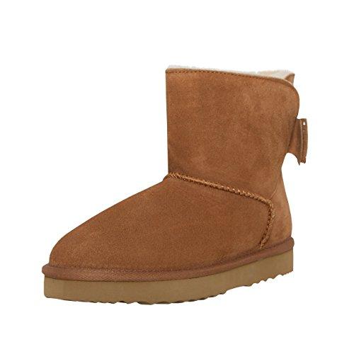 SKUTARI Big Bow Boots in Handarbeit gefertigte italienische Damen-Lederstiefel mit kuscheligem...