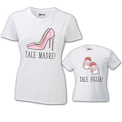 Coppia di T Shirt Mamma Bambino Festa della Mamma Tale Madre Tale Figlia Bianche Donna XS - Bodino 9 Mesi