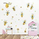 ufengke Stickers Muraux Jaune Abeilles Autocollants Mural Fleur Ruche Branche pour Chambre Enfants Bébé Pépinière Salon Décoration Murale