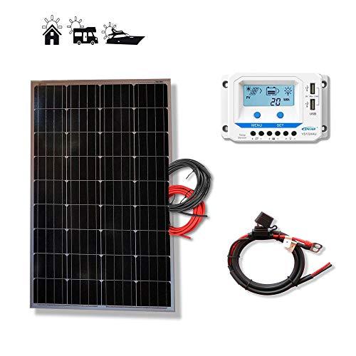 Kit 100W PRO 12V panel solar placa monocristalina ideal para autocaravanas furgonetas