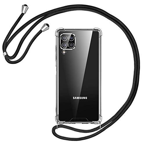 Oududianzi Funda Compatible con Samsung Galaxy A12, Cubrir con un Cordón práctico, Tope de Silicona Suave Transparente TPU - Cordón Negro