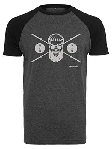 GO HEAVY Herren Kurzarm Baseball Trainingsshirt | Fitness Gym Sport T-Shirt | Barbell Skull | Grau/Schwarz M