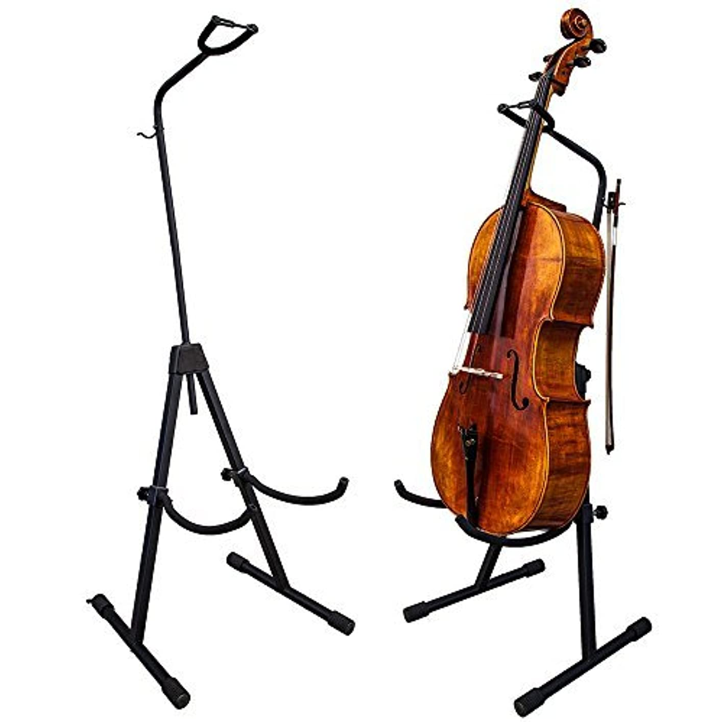 同様に前提実現可能PAITITI Adjustable Foldable Stand for Cello with Hook for Bow - Black [並行輸入品]