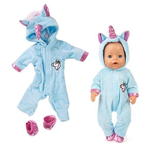 Amycute Einhorn Puppenkleidung für 43cm American Babypuppe Girl, Unicorn Kleidung Outfits Puppenkleidung Kostüm, American Girl Doll Stehpuppen Puppenbekleidung. (Blau)