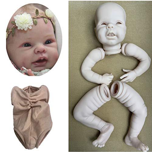 Zaoyun Reborn Baby DIY Kit,Unpainted Reborn Kit Baby Doll Head 3/4 Arms Full Legs Mold & Cloth Body Newborn Baby Open Eyes and Mouth (22 Inch)