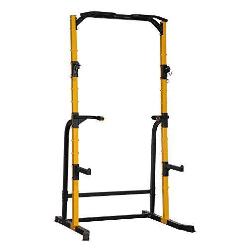 Diophros Barbell Power Rack, Adjustable Squat Stand with J-Hooks, Multifunction Exercise Power Tower Squat Rack & Power Cage