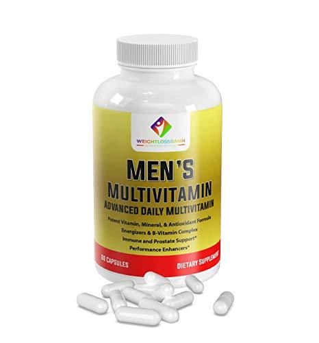 Men's Daily Multivitamin Multimineral Dietary Supplement. Magnesium, Biotin, Spirulina, Zinc.,Prostate & Immune Health, Promote Performance Enhancers Vegetarian 60 Capsules