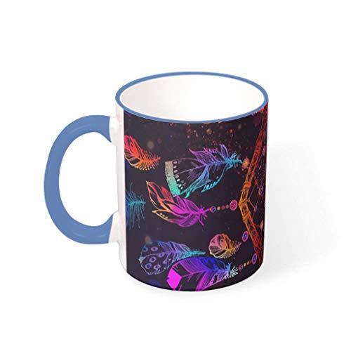 Divertida taza de café de cerámica multicolor étnica india mandala atrapasueños, plumas y mariposas, impresión creativa, tazas de té blancas, regalo para el hogar, tazas/tazas de acero azul, 330 ml