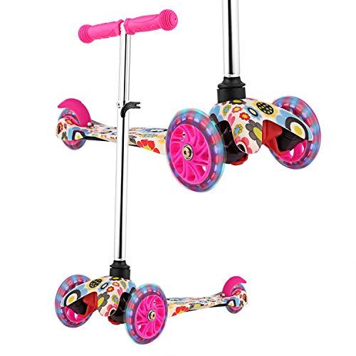 WeSkate Roller Kinder mit Verstellbare Höhe und 3 LED leuchten Räder Kinderscooter Dreiräder Kinderoller Scooter Tretroller für Kleinkinder Jungen & Mädchen 3-8 Jahre