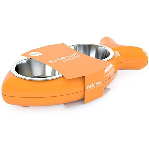 The Fish Bowl Orange Gamelles amovibles en acier inoxydable résistantes au lave-vaisselle avec socle en caoutchouc antidérapant Hing Designs Orange