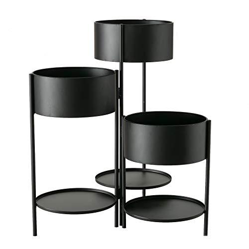 Spetebo Metall Pflanzentopfhalter mit 3 Abstellflächen - 55x44 cm - aus Eisen in schwarz Blumen Ständer Etagere