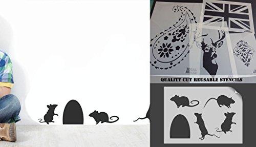 Set von echtem Größe Mäuse Maus Silhouette Schablone, (14cm hohe Maus Loch) Home Decor, Art Craft Painting ideal Schablonen, plastik, MOUSE HOLE 14CM