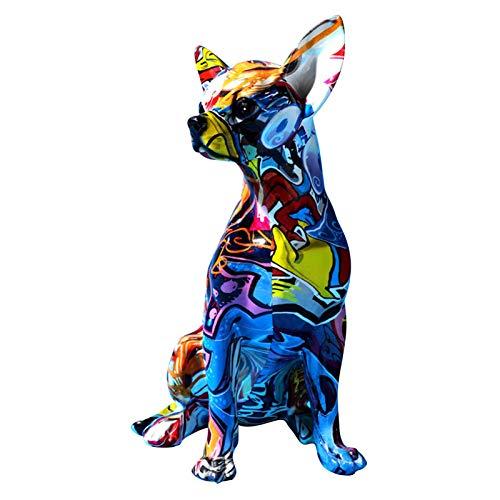 Chien de Statue en polyrésine, Ornements en résine Multicolore Statue de Figurine de Chien, Sculptures colorées...