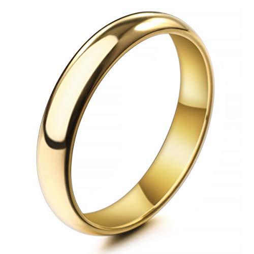 MunkiMix Ancho 4mm Acero Inoxidable Anillo Ring Banda Venda Oro Dorado Tono Alianzas Boda Talla Tamaño 17 Hombre,Mujer