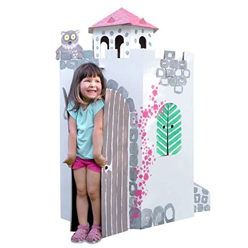 Bibabox Großer Burgturm Burg Papphaus Malhaus Spielhaus, aus stabiler weißer Pappe