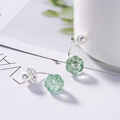 THTHT Pendientes vintage de plata de ley S925 para mujer, color verde natural, de fluorita, loto elegante, de temperamento