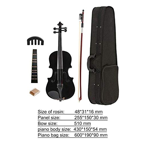 LOIKHGV Praktische Home Akustische Violine Kits Fiddle Exerciser Basswood Body Rückseite Seitenplatte Ahornkopf 1/8 Schiene mit Kofferbogen, Schwarz