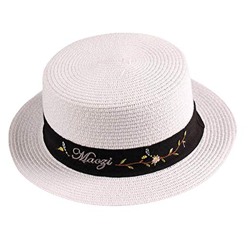 Sombrero de Paja de Gondolero Panama Circular con Cinta para Sol para Mujer (lu-237-blanco, 56cm)