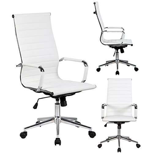 2xhome - Modern High Back Tall Ribbed PU Leather Swivel Tilt Adjustable Chair Designer Boss Executive Management Manager Office Conference Room Work Task Computer (White)