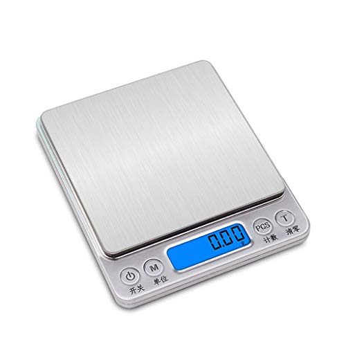 CWTC Balanza de Alimentos Multifuncional Alta Precisión 2kg/0.1g, Balanza de Cocina Digital de Acero Inoxidable con Función de Tara Retroiluminada LCD báscula electrónica (Size : 2kg/0.1g)