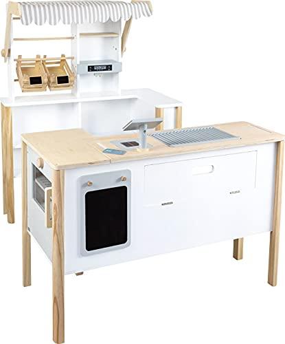 small foot 11436 Kaufladen Multifunktion 'fresh' aus Holz, mit Zubehör und als Küche verwendbar, ab 3 Jahren