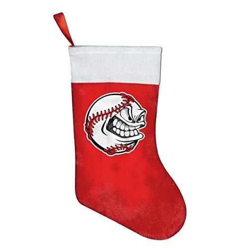 SLDIQIWL Weihnachtsstrümpfe, süße Weihnachtsstrümpfe, wütend, Baseball-Gesicht, Weihnachtsmann-Socken für Weihnachten, Kostüm-Dekoration