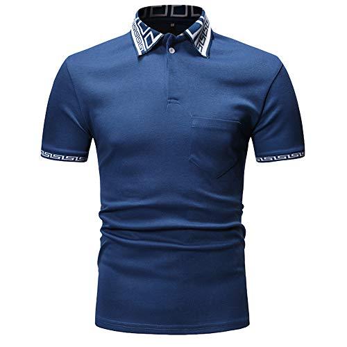 CFWL Personalidad De Moda Contraste De Color De Costura Solapa De Los Hombres Camiseta De Manga Corta Casual Camisas Manga Corta Hawaii Shirt Camisa Hawaiana Blue M