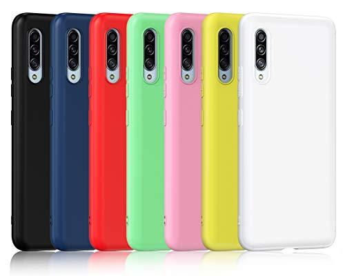 ivoler 7 x Funda para Samsung Galaxy A90 5G, Ultra Fina Carcasa Silicona TPU de Alta Resistencia y Flexibilidad (Negro, Azul, Verde, Rosa, Rojo, Amarillo, Blanco)