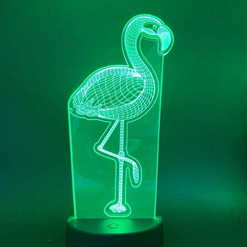GEZHF Lámpara 3D de flamenco, luz nocturna para niños, regalo para salón, luz roja, para 7 colores, luz nocturna LED