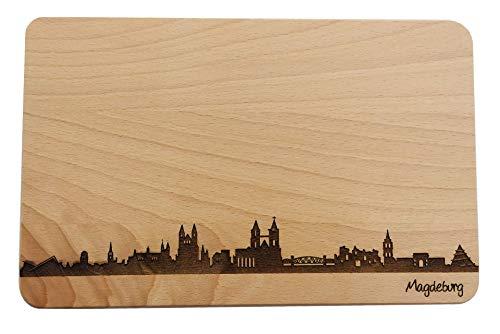SNEG Brotzeitbrett Magdeburg Skyline | Frühstücksbrettchen aus Buche | Holz Schneidbrett | Geschenk mit Gravur | Frühstücksbrett | Sachsen-Anhalt (Standard (22x14x1cm), ohne persönlicher Gravur)