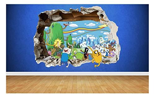 Thorpe Signs Adventure Time 3D Style fracassato adesivo da parete per bambini camera da letto in vinile, dimensioni: 80 cm x 58 cm