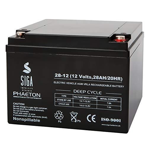 SIGA Batterie 12V 28Ah AGM Blei Gel Akku Notstrom Alarmanlage USV 24Ah 25Ah 26Ah 27Ah